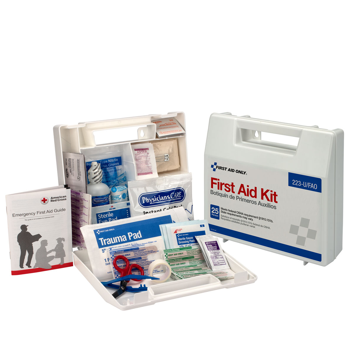 25 Person First Aid Kit, Plastic Case with Dividers