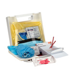 Blood borne Pathogen (BBP) & Personal Protection and Spill Clean Up Kit with CPR Micro shield, Plastic Case