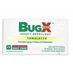 BugX DEET FREE Insect Repellent Wipes, 100 Per Box