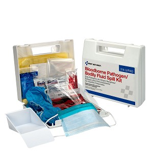 Wall-mount Bloodborne Pathogen (BBP) and Bodily Fluid Spill Kit in Plastic Carry Case, OSHA, 24 Pieces, White