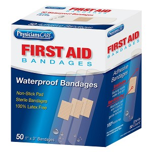 "Waterproof Bandages, 3"" x 1"" , Box of 50"