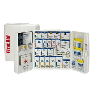 50 Person Large Plastic SmartCompliance First Aid Food Service Cabinet, ANSI A+, Type I & II,  with Medication