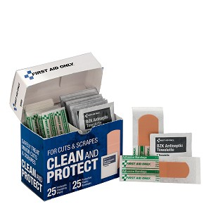 "Clean and Protect for Cuts & Scrapes with 25 BZK Antiseptic Wipes and 25 Protective Plastic Bandages, 1"" x 3"" and 3/4"" x 3"""