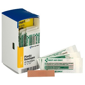 "SmartCompliance Refill 3/8""x 1.5""  Junior Plastic Bandages, 40 per box"